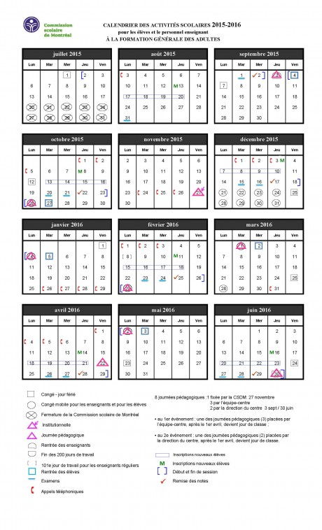 CALENDRIER DES ACTIVITÉS SCOLAIRES 2015-2016